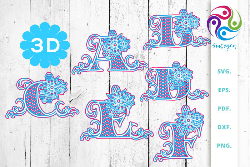 3d-multilayer-floral-alphabet-a-to-z-svg-cut-file-bundle