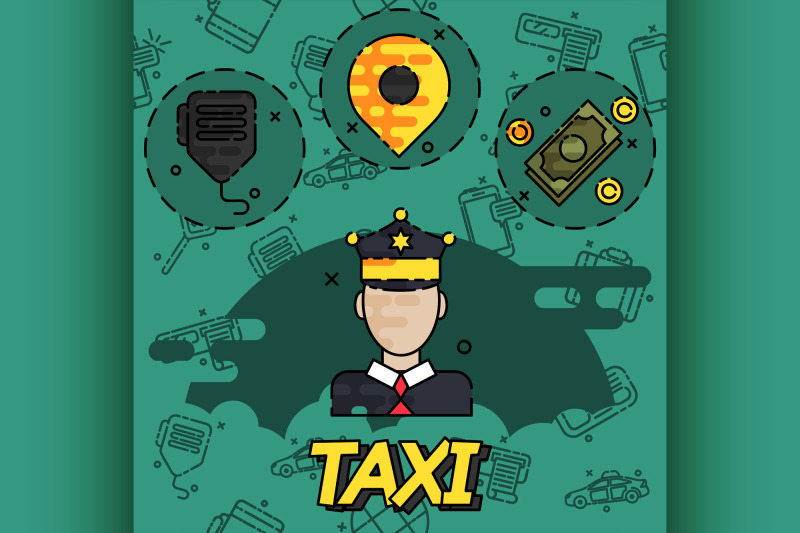 taxi-flat-concept-icons