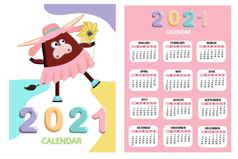 Calendar 2021. Cute design. Symbol of the year bull or ox ...