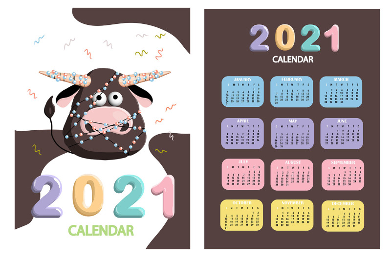 calendar-2021-cute-design-symbol-of-the-year-bull-or-ox-just-print