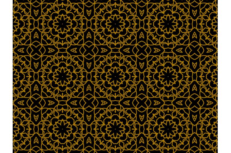 pattern-gold-ornament-papper-flowers