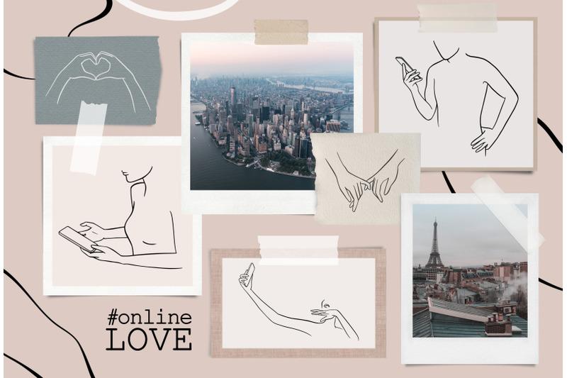 online-love-social-media-line-art