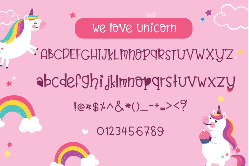 believe-in-unicorn-handwriting-cute-kid-font-kawaii-style