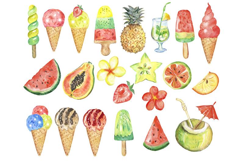 watercolor-ice-cream-clipart-multicolored-ice-cream-fruits-clip-art