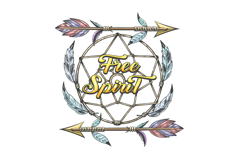 indian-arrows-and-dream-catcher-with-wording-free-spirit-tattoo