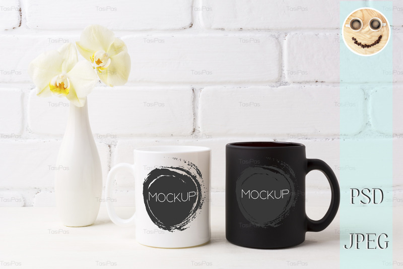 white-and-black-mug-mockup-with-soft-yellow-orchid-in-vase