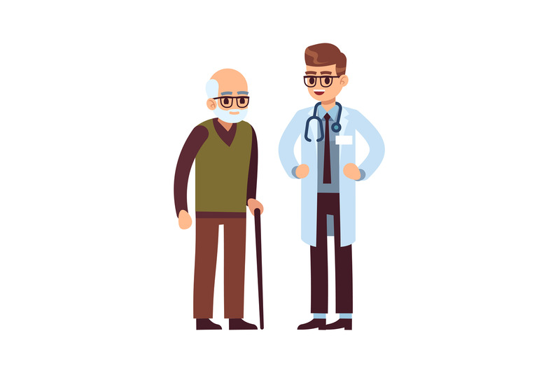 doctor-and-elderly-patient-healthcare-helping-caring-adult-man-vecto