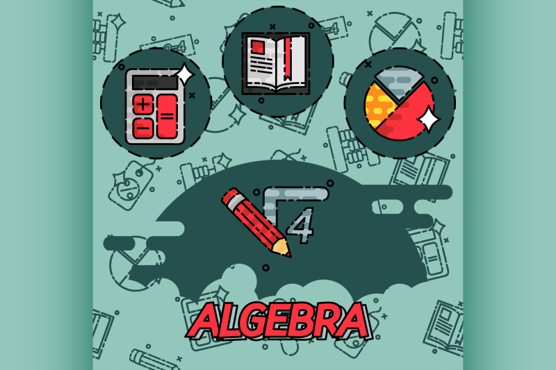 algebra-flat-concept-icons
