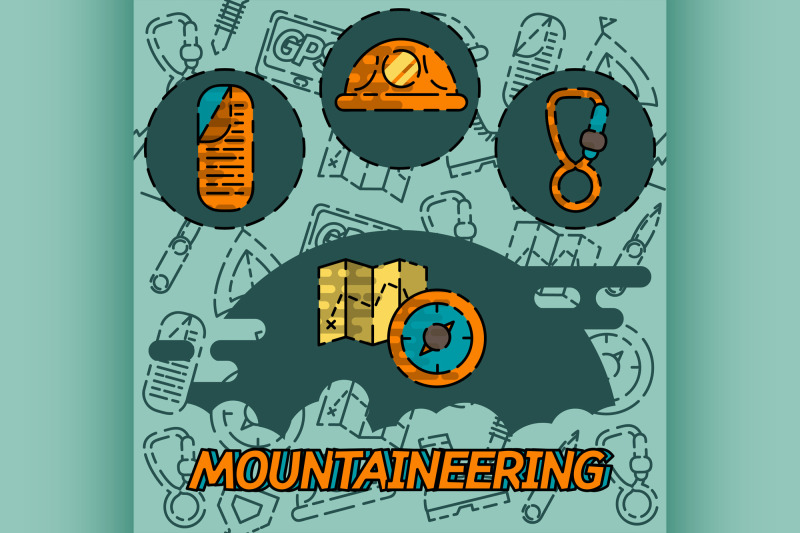 mountaineering-flat-concept-icons