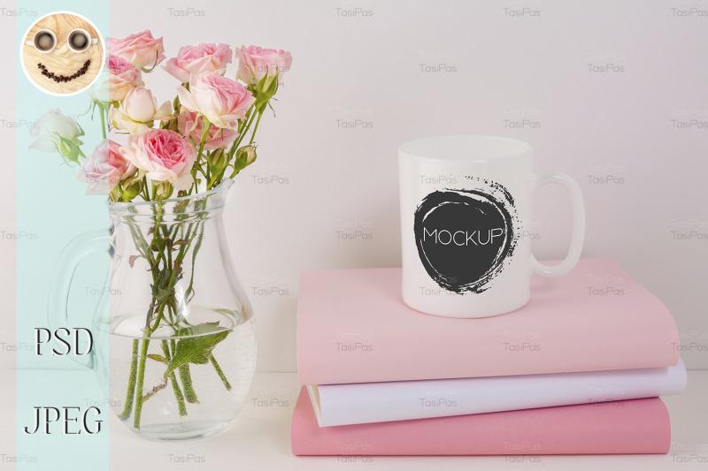 coffee-mug-mockup-with-pink-roses