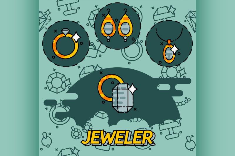 jeweler-flat-icons-set