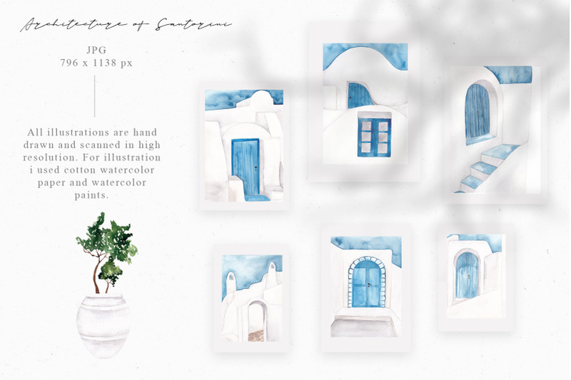 santorini-aesthetic-watercolor-collection