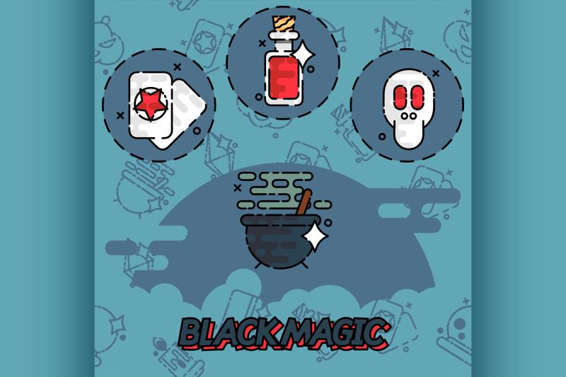 black-magic-flat-concept-icons