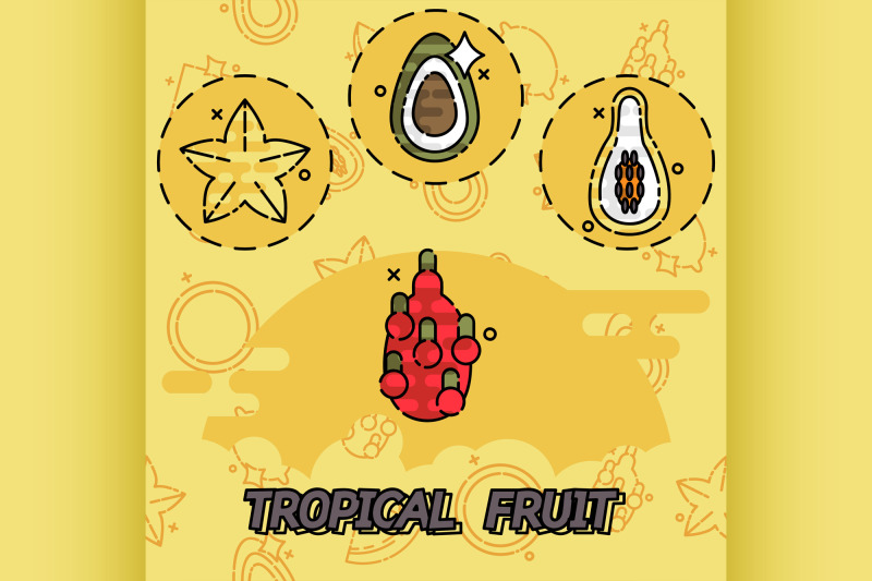 tropical-fruit-flat-concept-icons