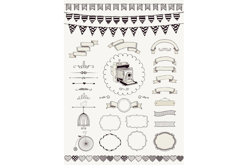 black-sketched-rustic-vintage-banners-ribbons-frames-and-icons