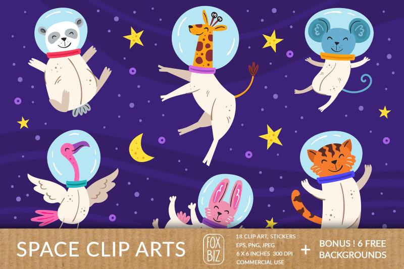 cosmos-clipart-animals-astronauts-digital-prints-stickers