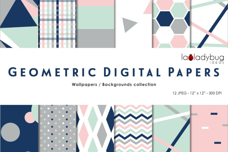 multicolor-triangles-digital-papers-geometric-wallpapers-navy-and-bl