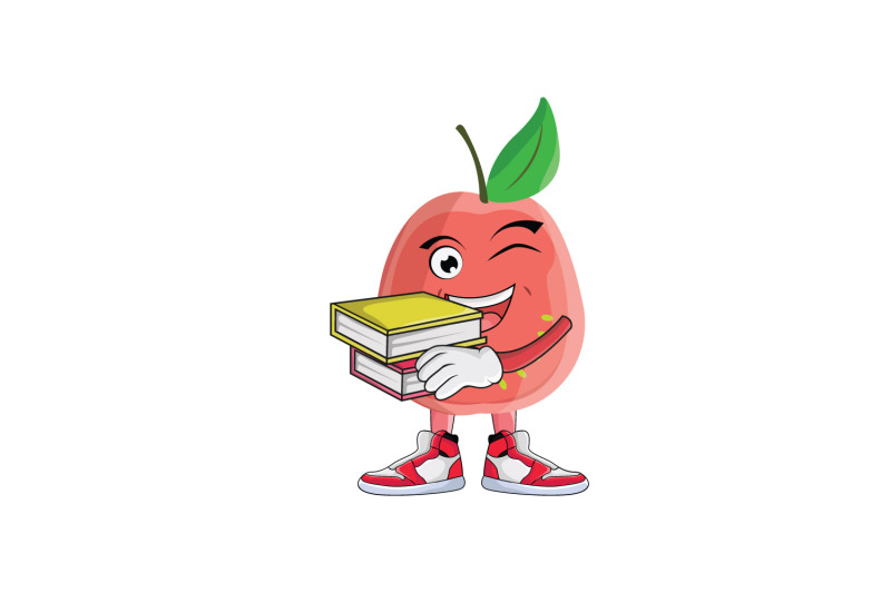 guava-with-books-fruit-cartoon-character-design