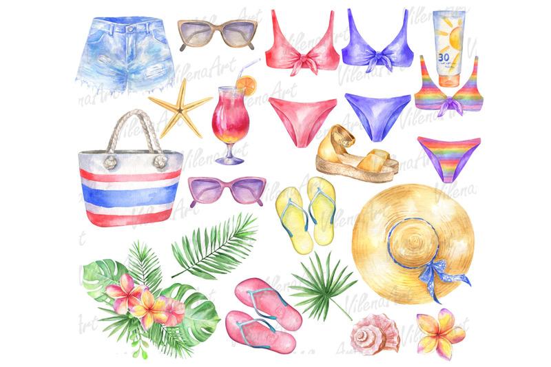 watercolor-summer-beach-clipart-vacation-tropical-clip-art-png-cloth