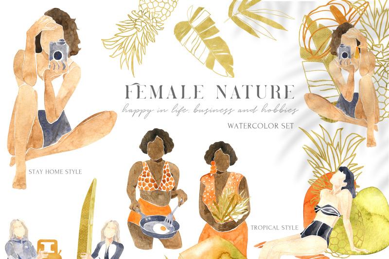 female-nature-tropical-watercolor-set