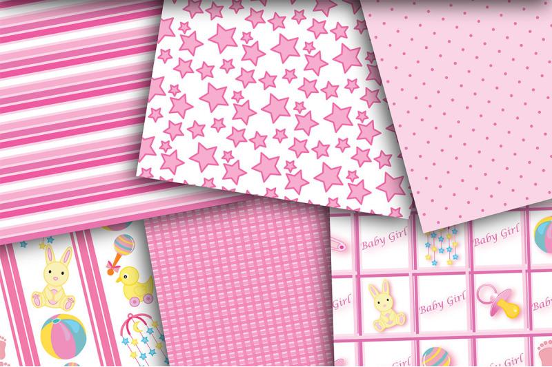 baby-girl-set-digital-paper-baby-paper-girl-paper-baby-shower-paper