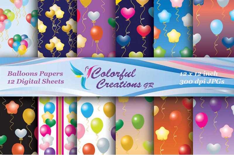 balloons-set-digital-paper-stars-hearts-scrapbook-paper-background
