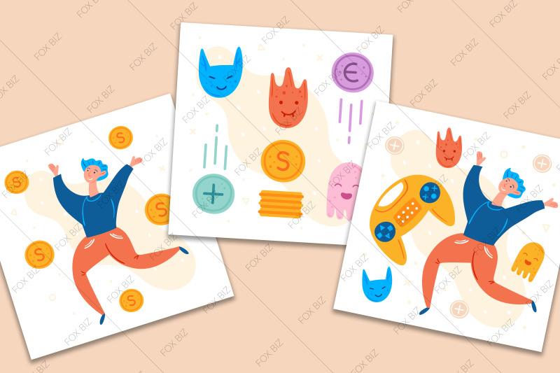 gamer-clipart-digital-prints-stickers-hand-drawn-vectors
