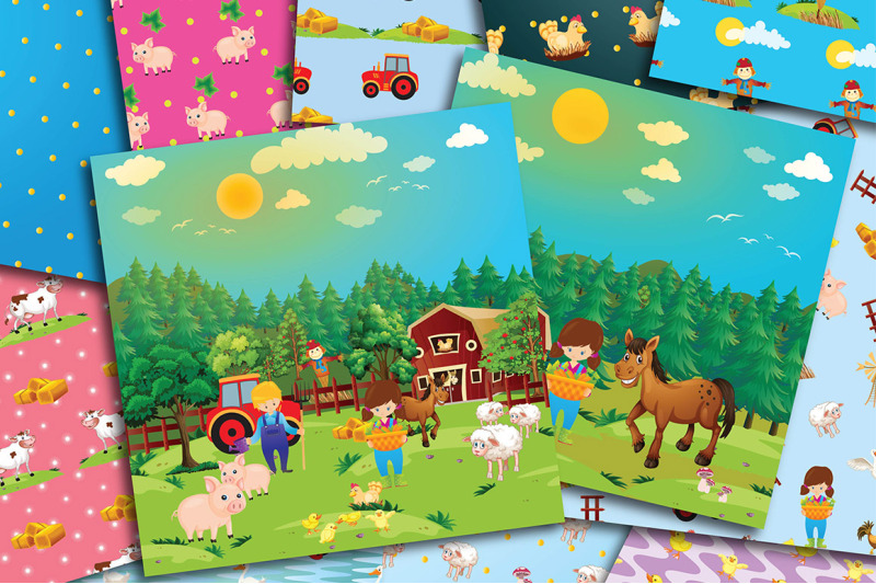 cute-farm-digital-papers-country-farmhouse-scrapbook-papers-farm-ani