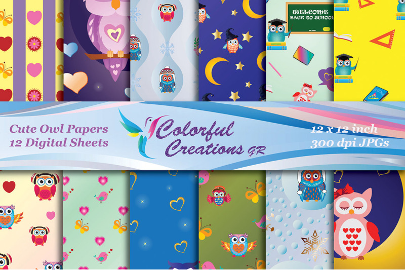 cute-owls-digital-papers-owls-scrapbook-papers-owls-digital-images