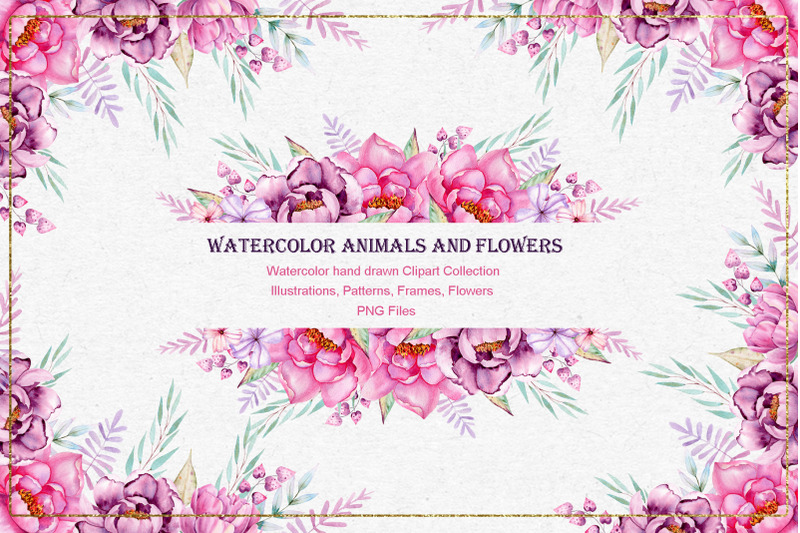 watercolor-animals-anf-flowers