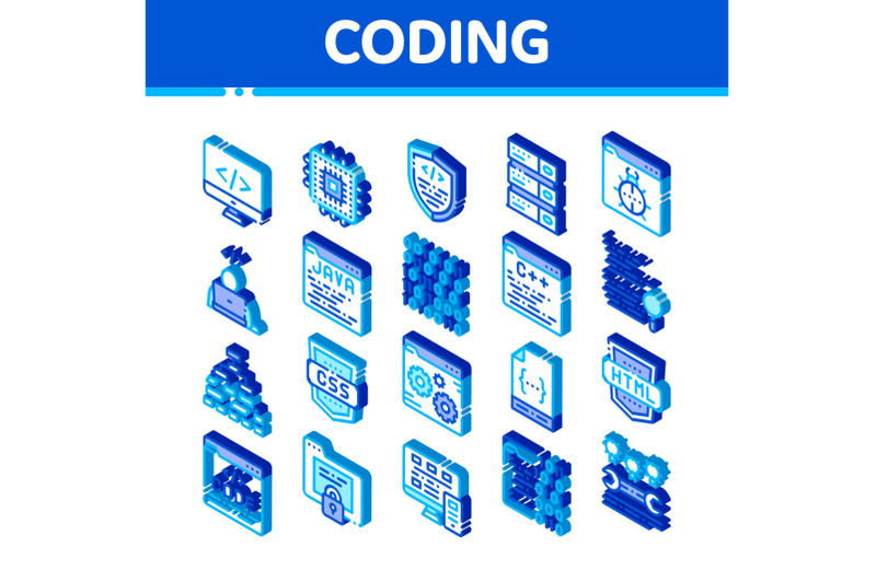 coding-system-vector-isometric-icons-set