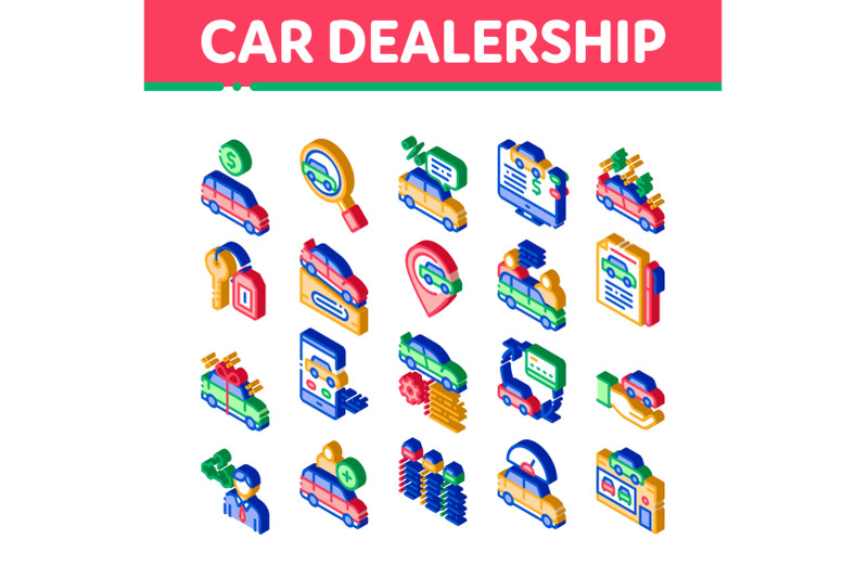 car-dealership-shop-isometric-icons-set-vector