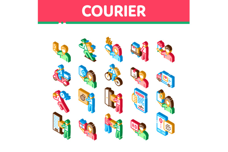 courier-delivery-job-isometric-icons-set-vector