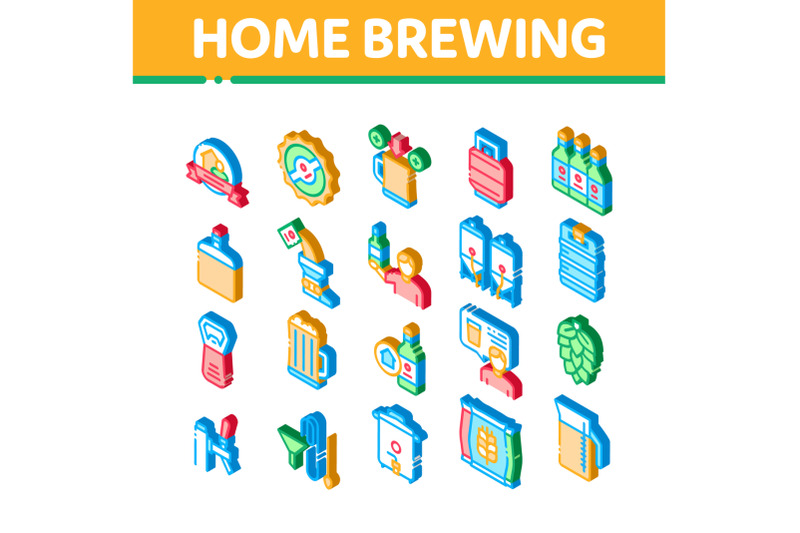 home-brewing-beer-isometric-icons-set-vector