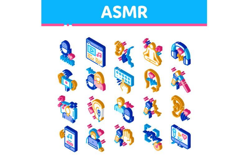 asmr-sound-phenomenon-isometric-icons-set-vector