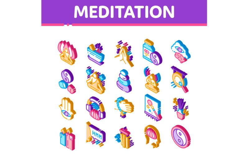 meditation-practice-isometric-icons-set-vector