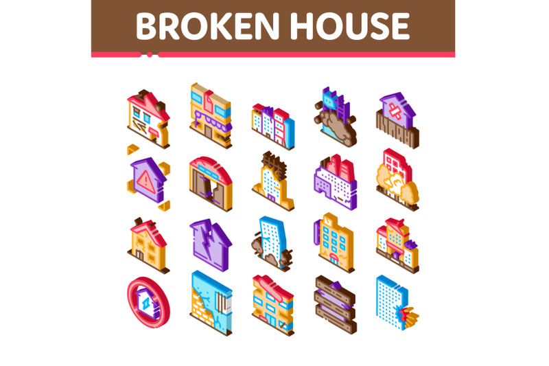 broken-house-building-isometric-icons-set-vector
