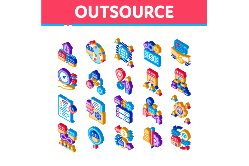 outsource-management-isometric-icons-set-vector