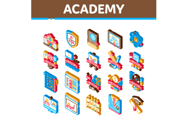 academy-educational-isometric-icons-set-vector