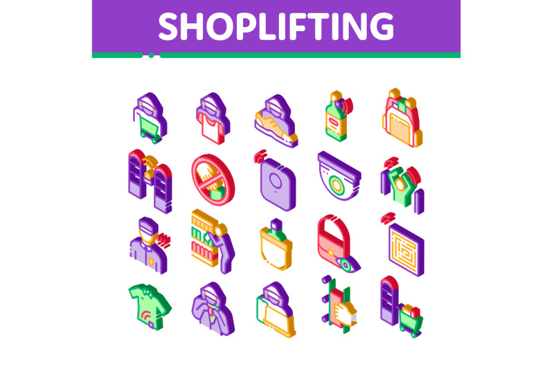 shoplifting-isometric-icons-set-vector