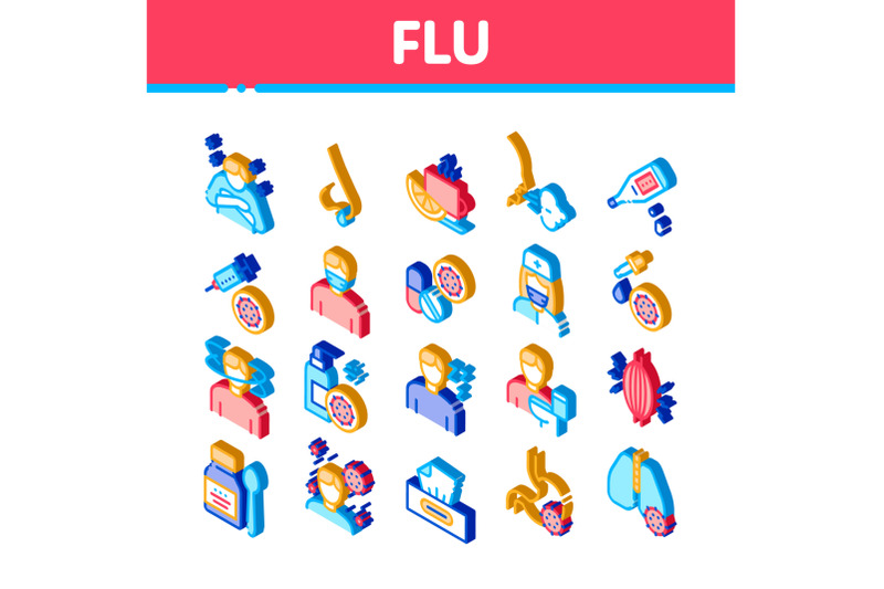 flu-symptoms-medical-isometric-icons-set-vector
