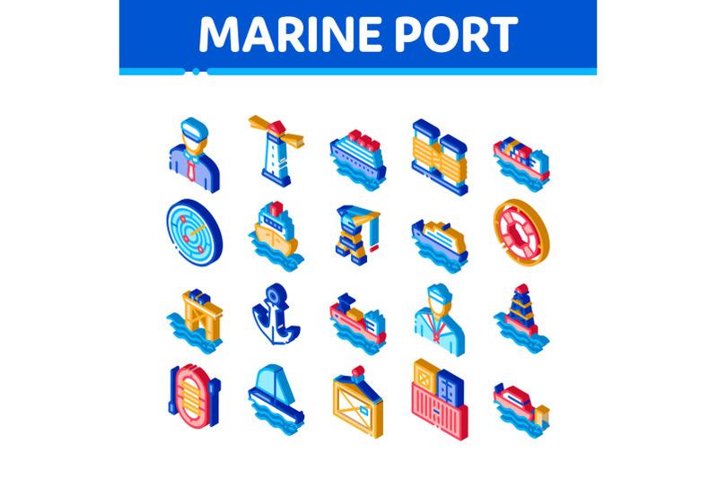 marine-port-transport-isometric-icons-set-vector