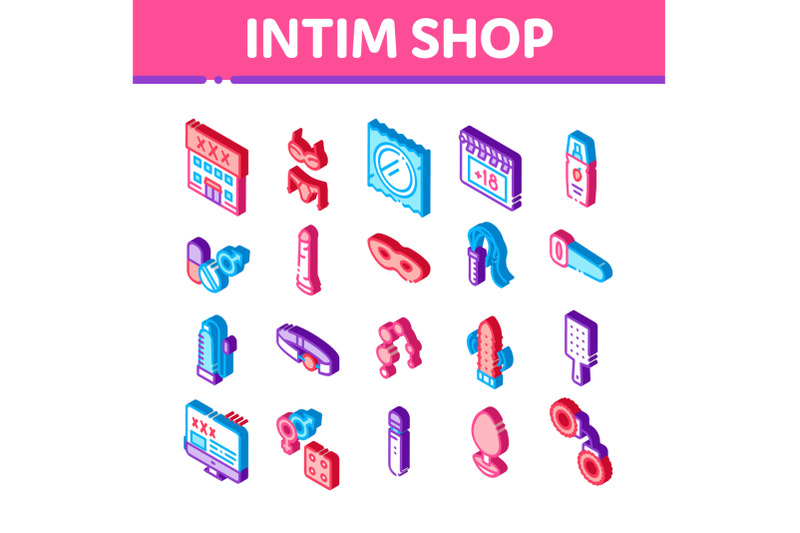 intim-shop-sex-toys-isometric-icons-set-vector