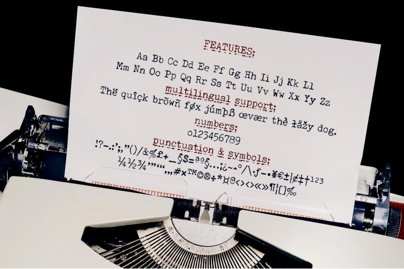 secretary-typewriter-font-amp-stamp-and-paper-set