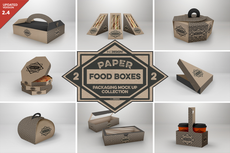 Download Vol 2 Paper Food Box Packaging Mockup Collection Psd