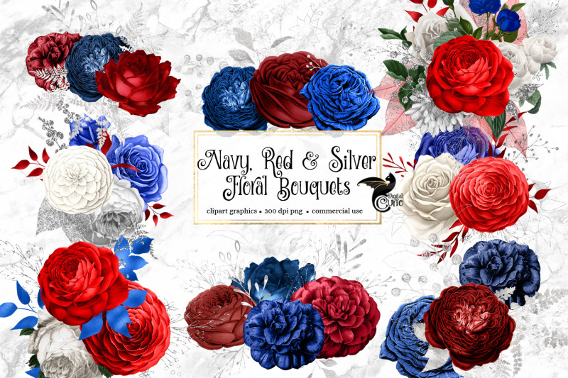 navy-red-and-silver-floral-bouquets