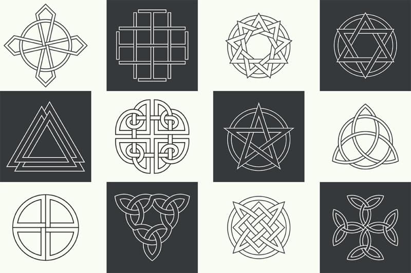 set-of-ancient-linear-logo-symbols