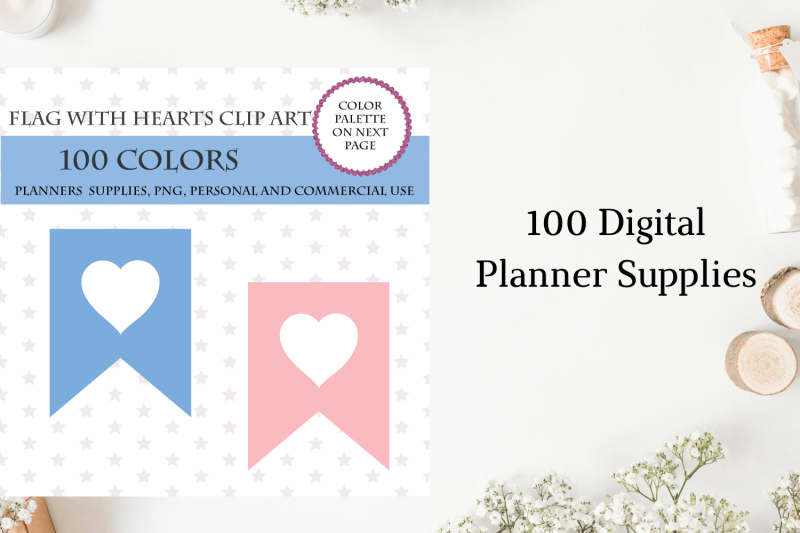 100 Banners flag with heart clipart, Printable stickers ...