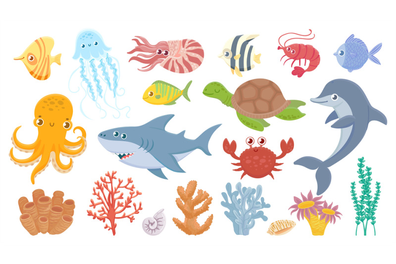 cartoon-sea-life-cute-sea-fish-aquatic-corals-jellyfish-and-octopus