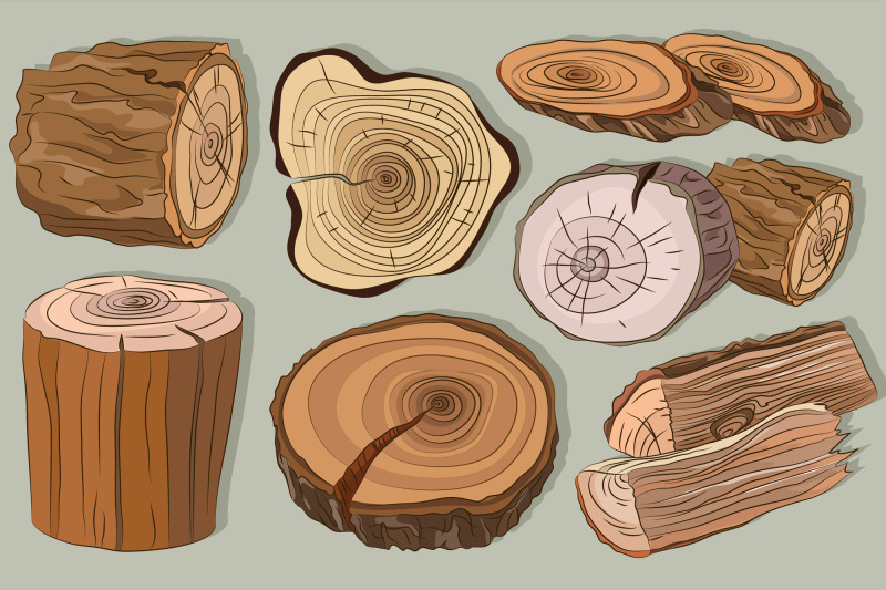 wood-stumps-vector-set